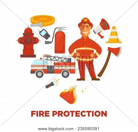 Firefighting And Fire Protection Poster Of Extinguishing Equipment Tools. Vector Flat Icons Of Firef