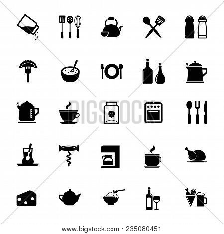 Icon Set Of Kitchen Tools. Electric Appliances, Utensils, Cutlery, Kitchenware. Kitchen Concept. For