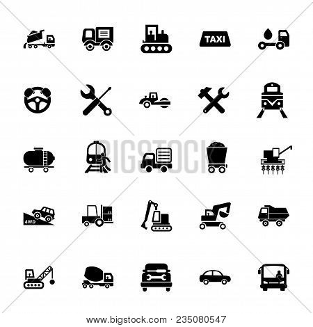 Icon Set Of Mode Of Transport. Vehicle, Public And Industrial Transport, Logistics. Transportation C