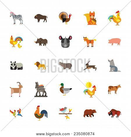 Icon Set Of Wild And Farm Animals. Zoo, Wildlife, Species Diversity. Animals Concept. For Topics Lik