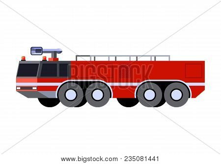 Minimalistic Icon Airport Crash Tender Front Side View. Fire Truck Emergency Vehicle. Vector Isolate