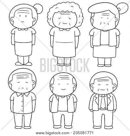 Vector Set Of Elder People Hand Drawn Cartoon