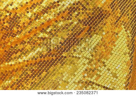 The Gold Embroidered Glittering Sequins  For Background