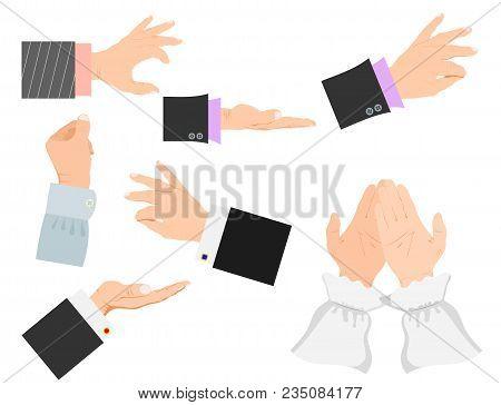 Businessman Arm Vector Hands Deafmute Gestures Human Pointing People Gesturing Illustration.