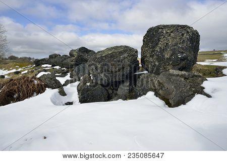 Lead Mining Spoil In Snow, Charterhouse, Mendip Hills