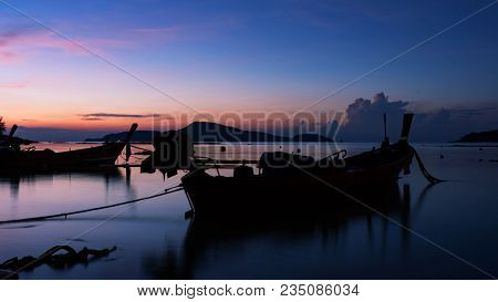 Longtail Boat With Coastal Fishing Village,beautiful Scenery View In Morning Sunrise Over Sea