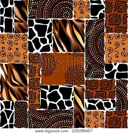 Ethnic Boho Seamless Pattern In African Style On Black Background. Tribal Art Print. Irregular Polka