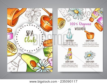 Spa Club Broshure Hand Drawn Cosmetics And Aromatherapy Elements. Cartoon Sketch Of Natural Cosmetic