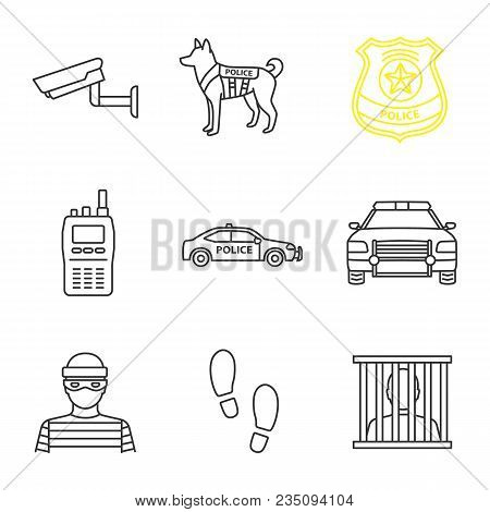 Police Linear Icons Set. Surveillance Camera, Military Dog, Police Badge, Walkie Talkie, Car, Robber