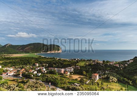 Montenegro Landscape With Sutomore Town And Adriatic Sea Shore. Summer Seashore Panoramic View. Mont
