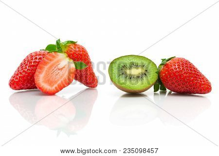 Juicy Kiwi And Strawberries On A White Background. Horizontal Photo.