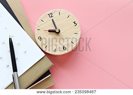 Still Life, Business, Office Supplies Or Education Concept : Top View Or Flat Lay Of Notebooks, Cale