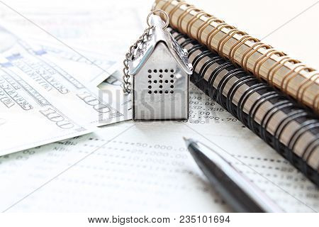 Business, Finance, Saving Money, Property Ladder Or Mortgage Loan Concept : House Model, American Do