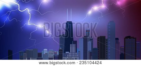 Chicago Downtown Business And Finance Area Background With Skyscrapers On Storm Background With Ligh