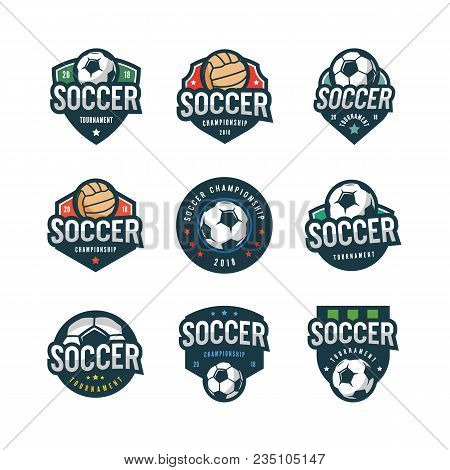Set Of Football, Soccer Logos. Sport Emblems, Badges, Design Elements, Logotype Templates Vector Ill