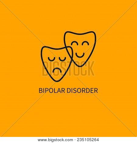 Bipolar Disorder Icon. Smiling And Sad Masks. Vector Illustration