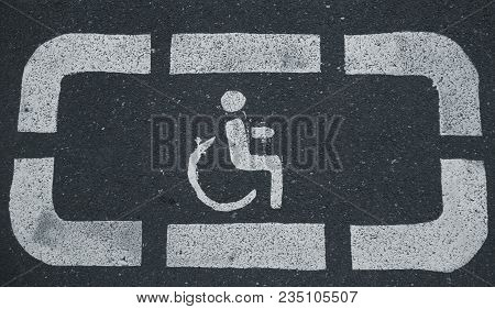Handicap Parking Areas Reserved For Disabled People Horizontal Background