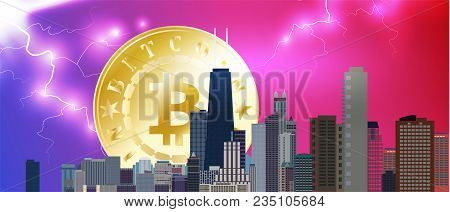 Chicago Downtown Business And Finance Area Background With Skyscrapers And Bitcoin On Storm Backgrou