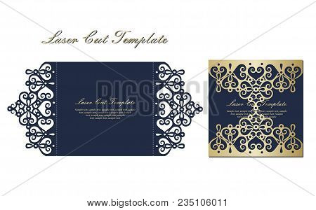 Template For Laser Cutting Envelope With Floral Ornament In Black And Gold Color.