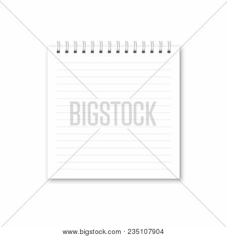 Vector Realistic Opened Notebook. Square White Metallic Spiral Bound Blank Copybook Lined. Template