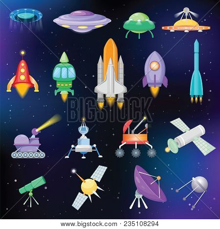 Rocket Vector Spaceship Or Spacecraft With Satellite And Spacy Ufo Illustration Set Of Spaced Ship O