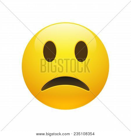 Vector Emoji Yellow Sad Face With Eyes And Mouth On White Background. Funny Cartoon Emoji Icon. 3d I
