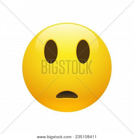 Vector Emoji Yellow Sad Confused Face With Eyes And Mouth On White Background. Funny Cartoon Emoji I