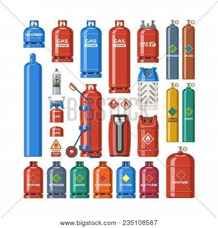 Gas Cylinder Vector Lpg Gas-bottle And Gas-cylinder Illustration Set Of Cylindrical Container With L