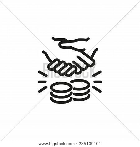Icon Of Financial Deal. Handshake, Purchase, Deal. Partnership Concept. Can Be Used For Topics Like