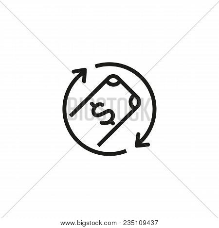 Icon Of Money Turnover. Operating Cycles, Dollar, Banknote. Finance Concept. Can Be Used For Topics