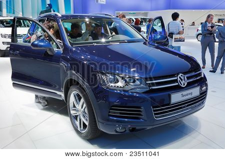 FRANKFURT - SEP 17: Volkswagen Touareg shown at the 64th Internationale Automobil Ausstellung (IAA) on September 17, 2011 in Frankfurt, Germany.
