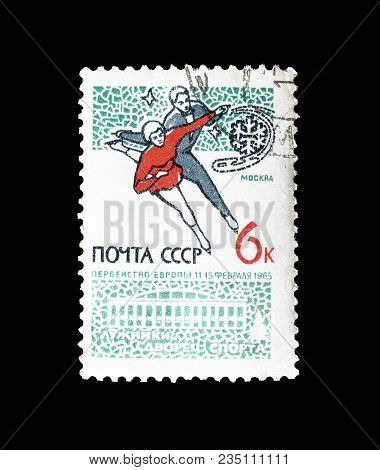 Soviet Union - Circa 1965 : Cancelled Postage Stamp Printed By Soviet Union, That Shows Figure Skati