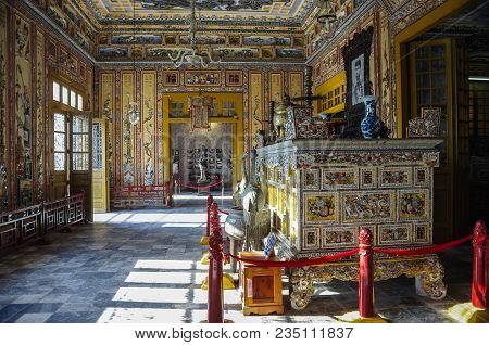 Hue, Vietnam - January 5,2015 -interior Of Imperial Khai Dinh Tomb In Hue