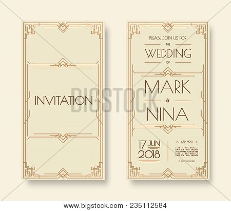wedding invitation template set art deco and arabic line style with frame gold color for greeting card. Vector Illustration 10 eps