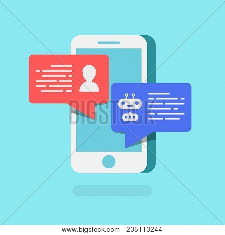 Chat Bot Concept 3d Isometric Style With Mobile On Blue Background For Chatting Technology, Connecti