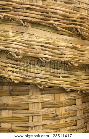 Background Of Texture Of Stack Big Bamboo Basket Weave