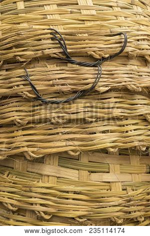 Background Of Surface Of Stack Big Bamboo Basket Weave