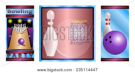 Bowling Postcard ( Bowling Ball, Skittles, Bowling Alley ). Vector Illustration