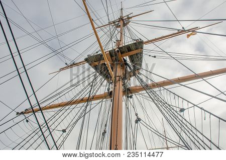 Looking Up At Mast With Rigging On Old Ship