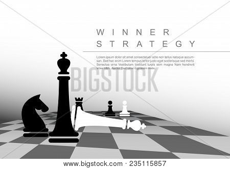 Vector Business Winner Strategy Concept Template With Black And White Chess Figures
