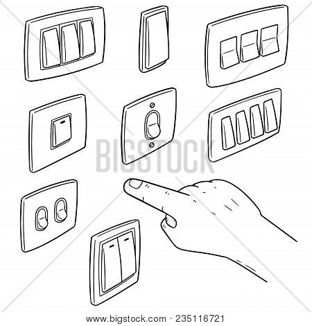 Vector Set Of Electric Switch Hand Drawn Cartoon