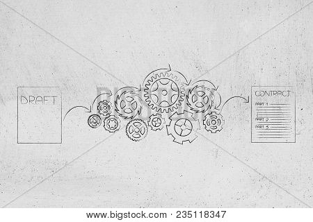 From Draft To Final Contract Conceptual Illustration: Sheets With Gearwheel Mechanism In Between The