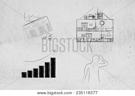 Real Estate Prices And Market Trends Conceptual Illustration: Newspaper Next To House With Price Goi