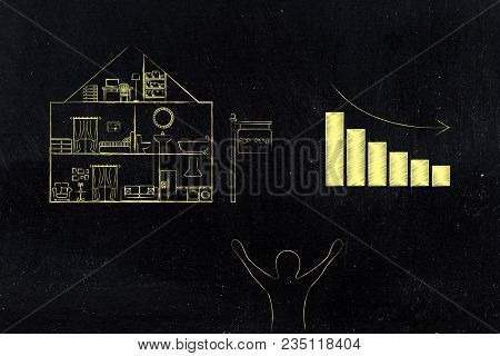 Real Estate Prices And Market Trends Conceptual Illustration: House With Rent Price Stats Going Down