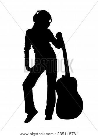 Black Silhouette Of A Man With An Acoustic Guitar On A White Background.