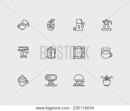 Coffee Grinder And Tea Icon Line Set With Tea Bag Cup, Thai Tea And Coffee With Cream. Set Of Tea Ic