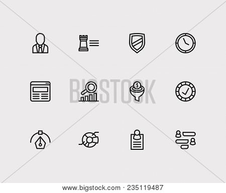 Economy Icons Set. Reliable Value And Economy Icons With Pie Chart, Web Design And Business Expertis