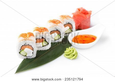 Sushi Roll Turned On A White Background. Sushi Japanese Food In A Restaurant. Japanese Restaurant Me
