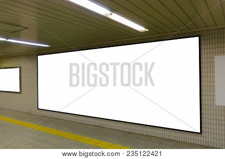 Big Blank Advertising Billboard On Wall With Copy Space For Your Text Message Or Media And Content I