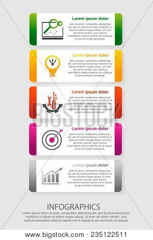 Modern Vector Illustration 3D. An Infographic Template With Five Steps And An Image Of Five Rectangl